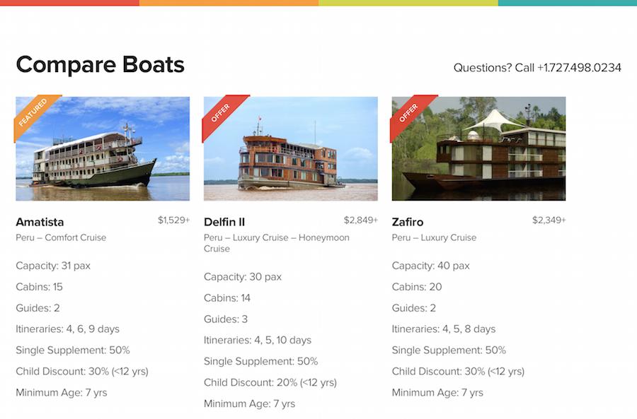 Compare Boats Feature