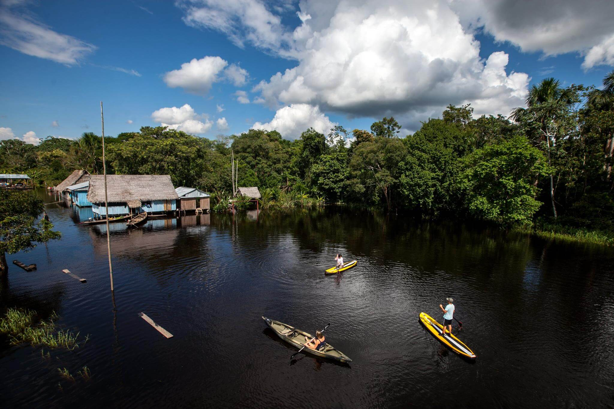 Enjoying the Amazon rainforest views from the Delfin I Amazon river cruise activities.