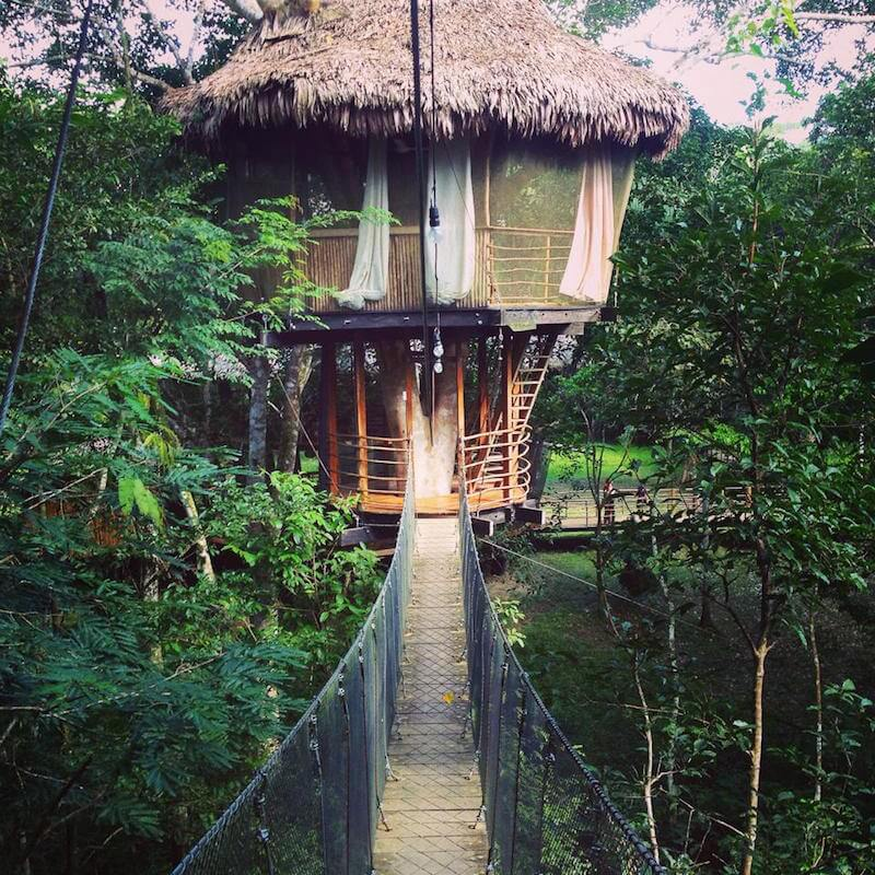 Crossing the suspended bridge to my Treehouse Lodge bungalow