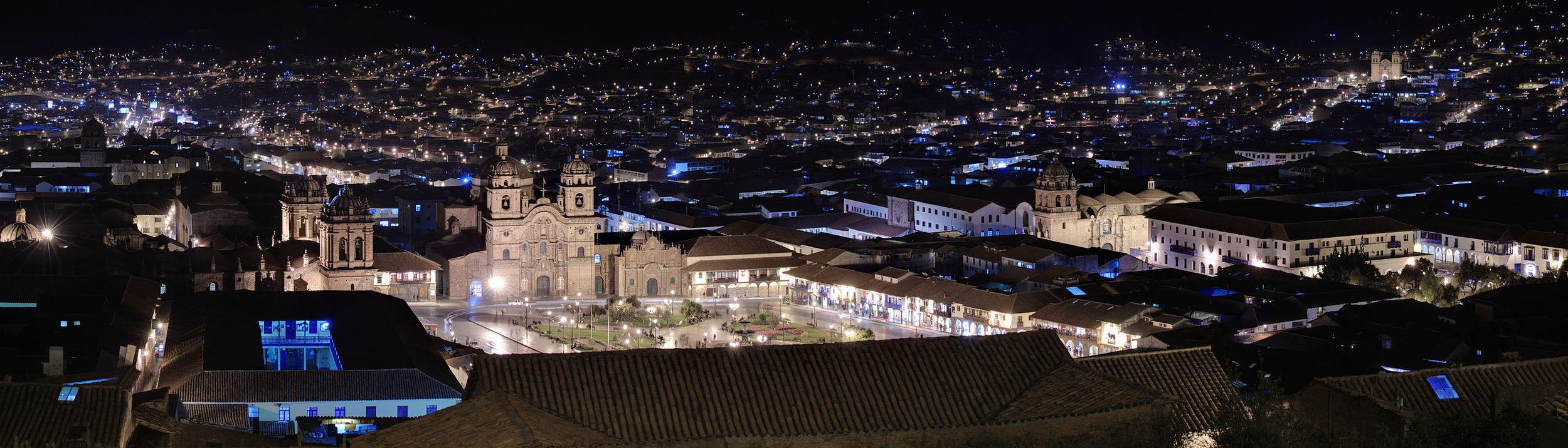 Cusco's Main Square at Night. Photo:Martin St-Amant - Wikipedia