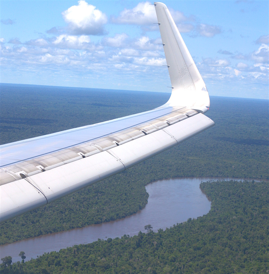 Flight over the Amazon River.