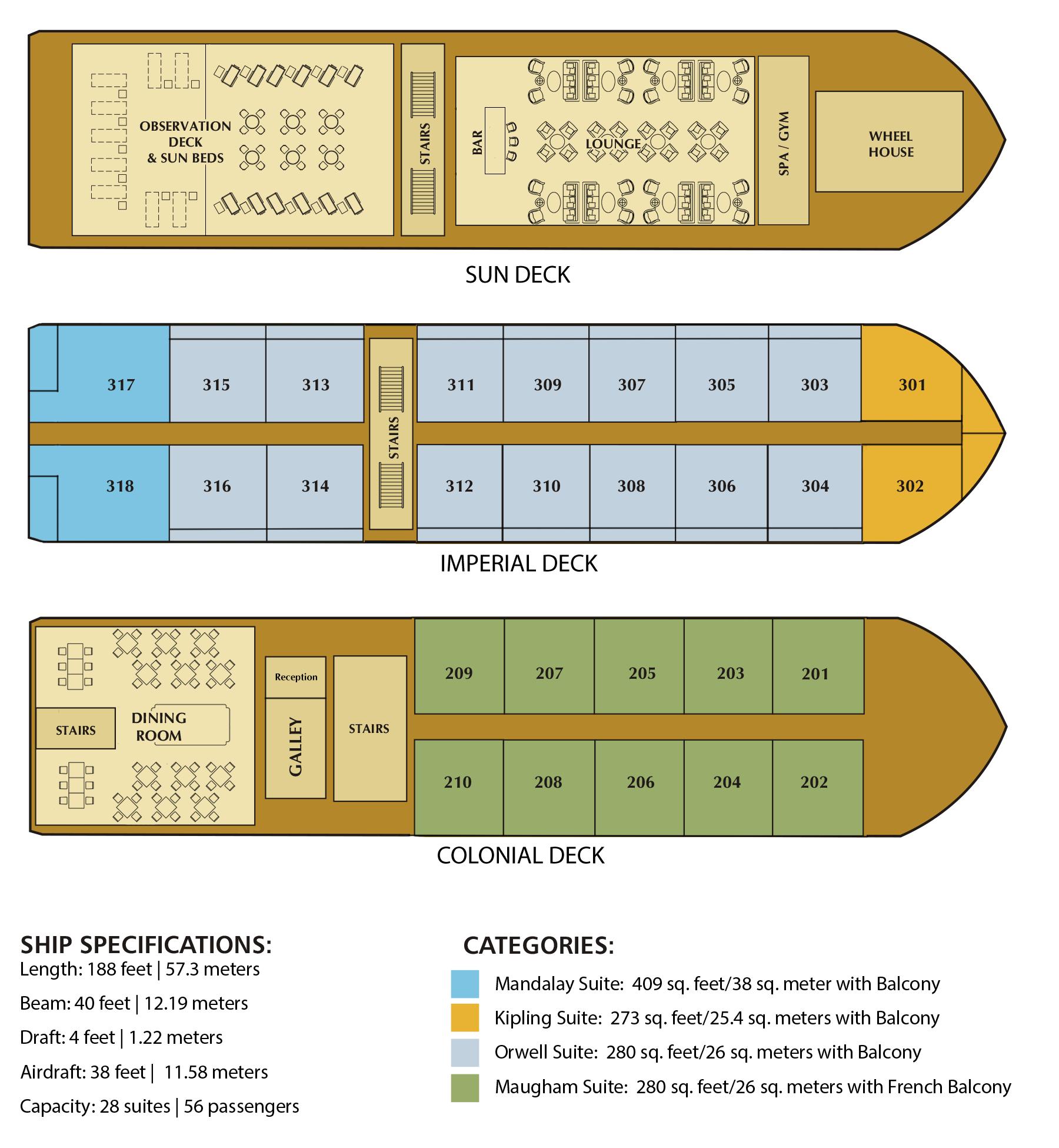 Irrawaddy Explorer Cruise Deck Plan
