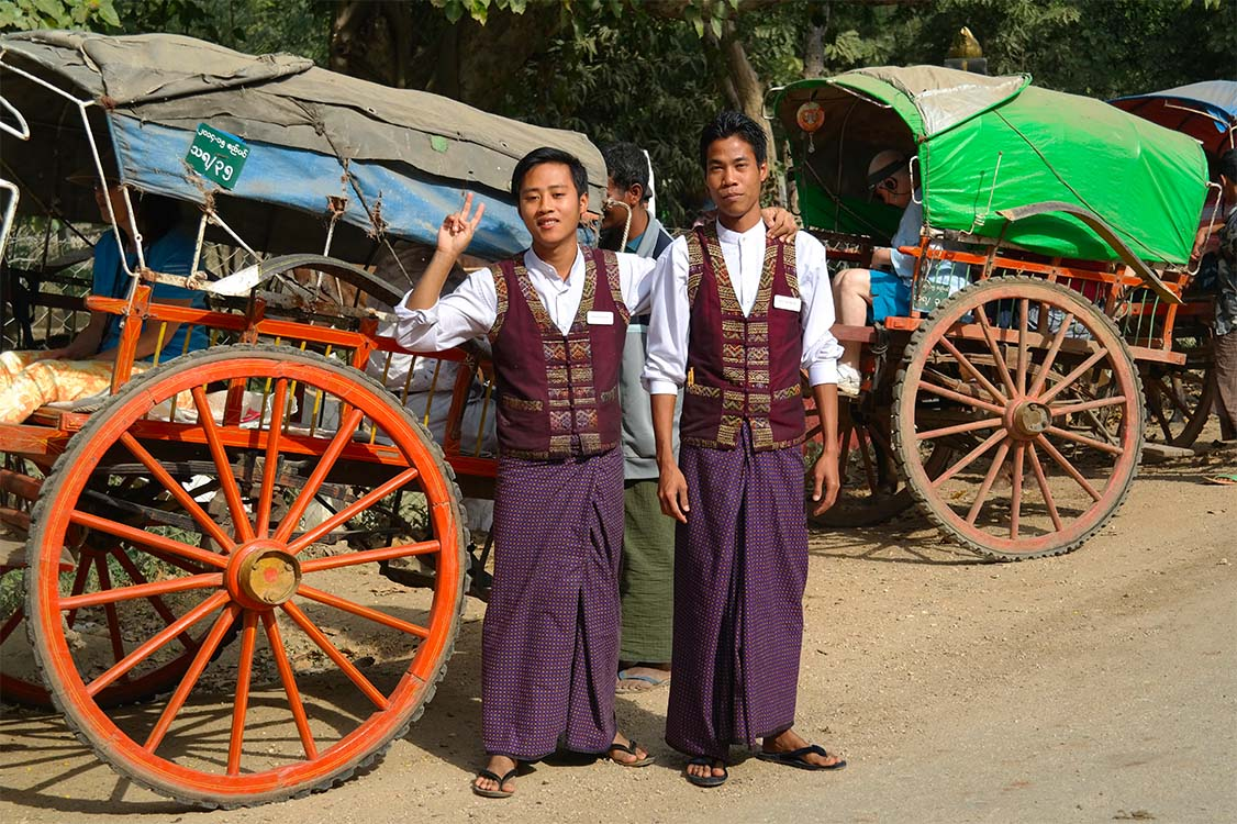 Irrawaddy Explorer Crew with horse carts - Thayetmyo, Myanmar (Burma)