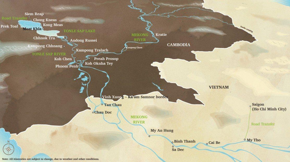 Aqua Mekong 8-day Cruise Itinerary Map