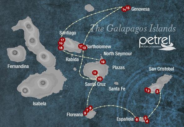 Galapagos Map Petrel Cruise