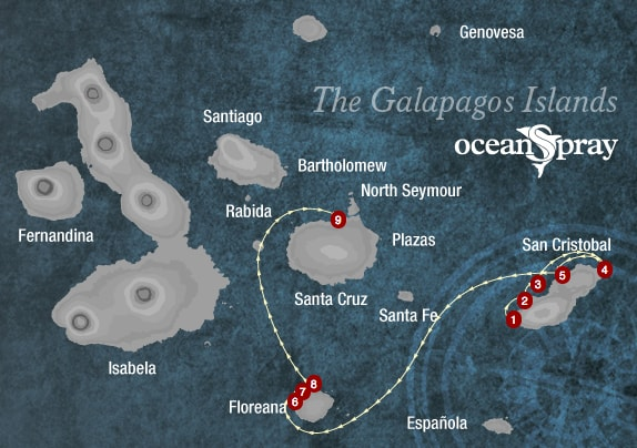Ocean Spray Galapagos Map
