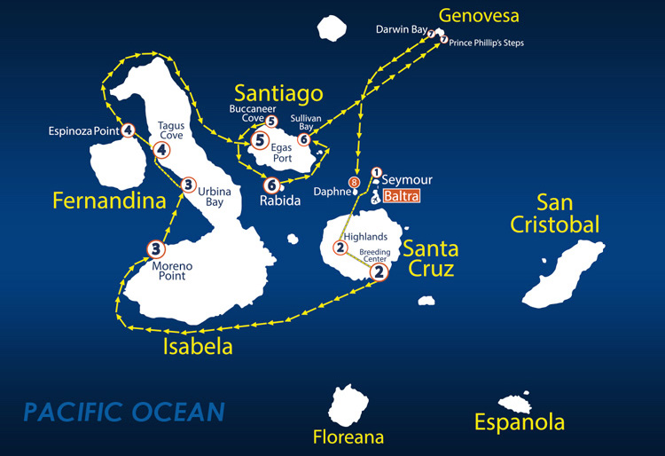 Galapagos Islands Map Nemo Cruise Itinerary