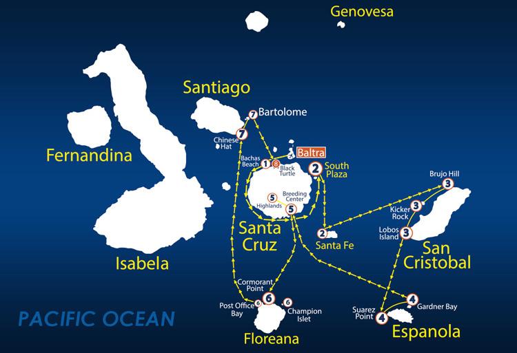 Galapagos Islands Map Nemo Cruise Itinerary