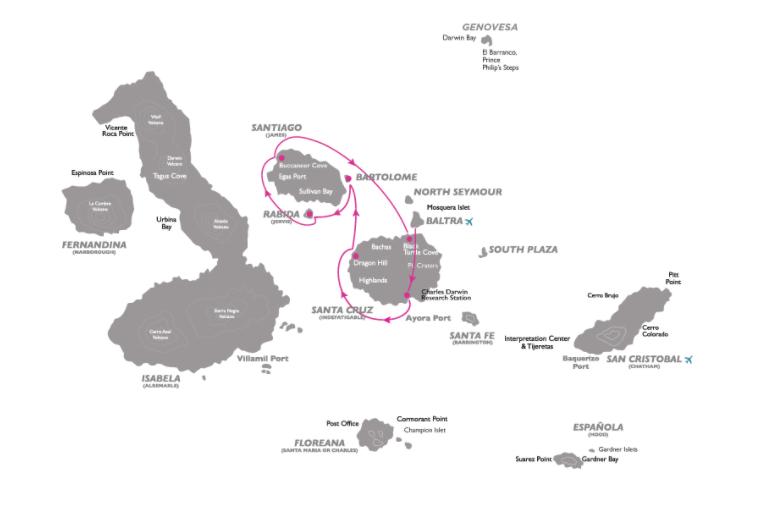 Coral 4-Day Galapagos Cruise itinerary A