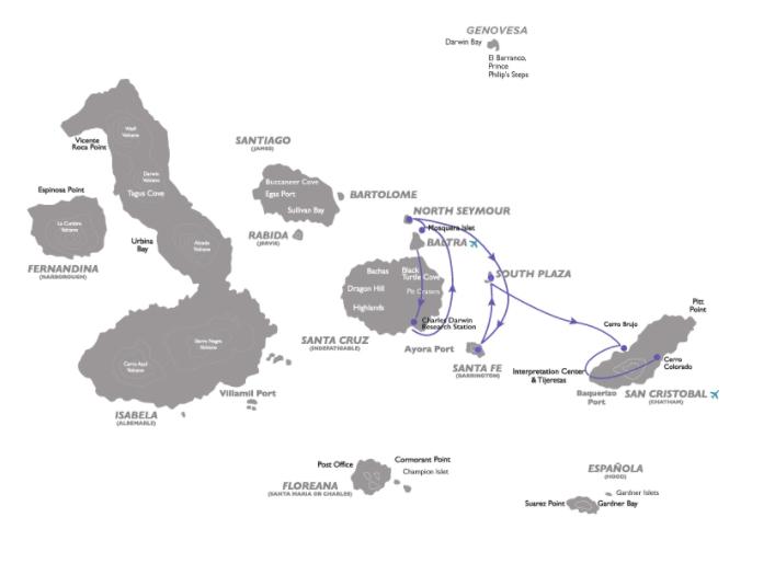 Coral 4-Day Galapagos Cruise Itinerary C