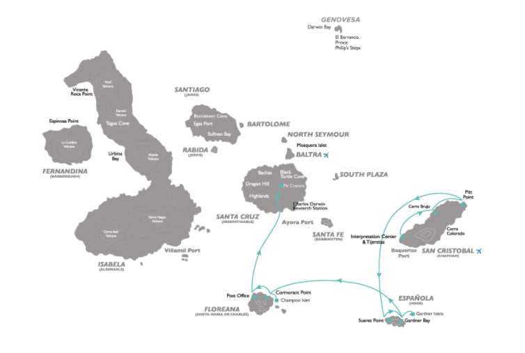 Coral 5-Day Galapagos Cruise Itinerary D