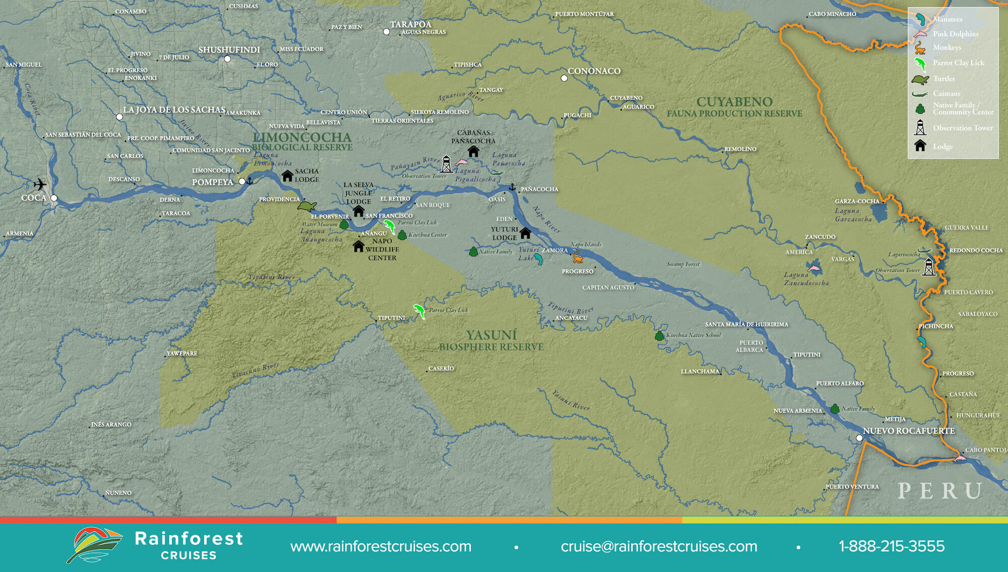 Amazon River Ecuador Map | Rainforest Cruises on map of caye caulker, map of burning man, map of cave, map of jeju island,