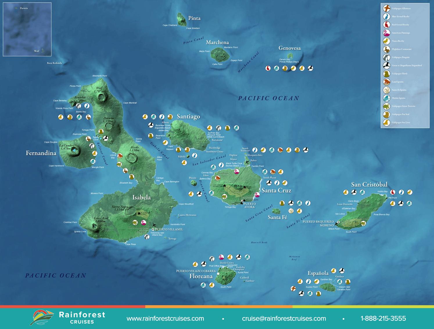 Galapagos Map Rainforest Cruises