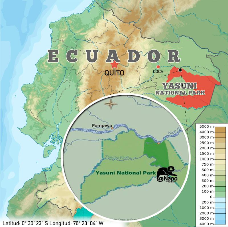 Map of Napo Wildlife Center