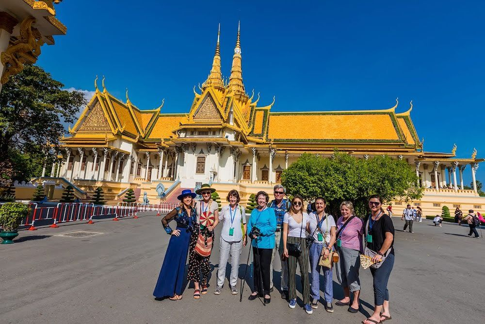 Exploring the Royal Palace in Cambodia.