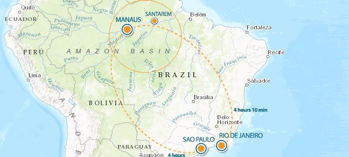 Santarem Flight Map