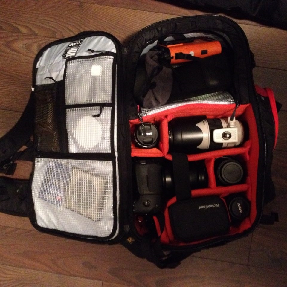 Loaded Evoc CP 26L - weighs in around 35lbs - not a fun travel kit.