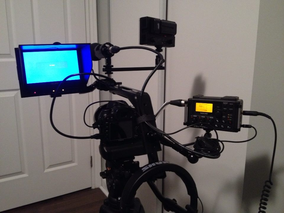 My main rig showing more of what I see during an interview set up. The shotgun mic is either on camera or boomed above the person(s) talking.