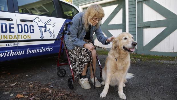 Audrey Stone and her guide dog, Figo