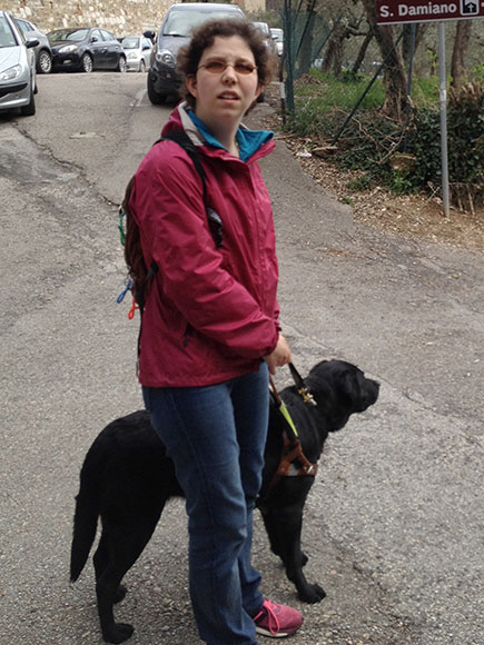 Jameyanne walking with her guidedog
