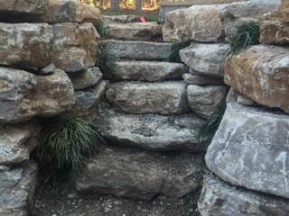 Natural stone used to construct stairwell and steps