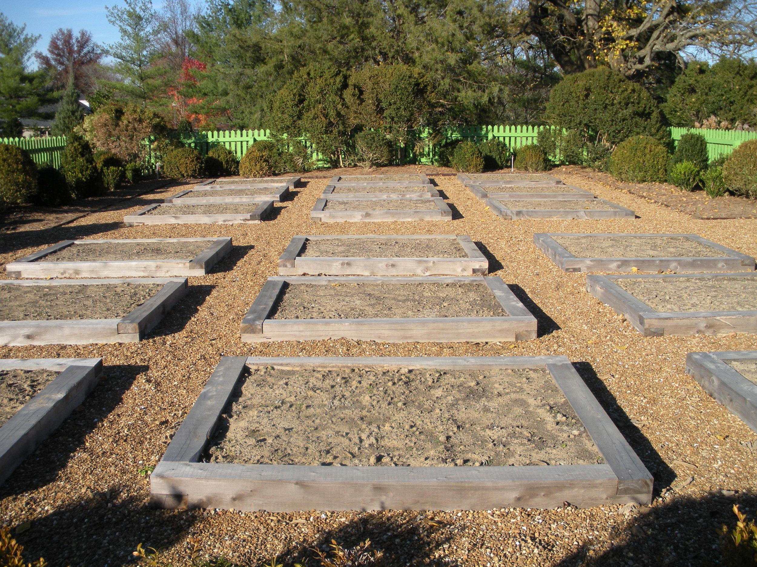 Raised vegetable beds with boxwood perimeter 11-14-09.JPG