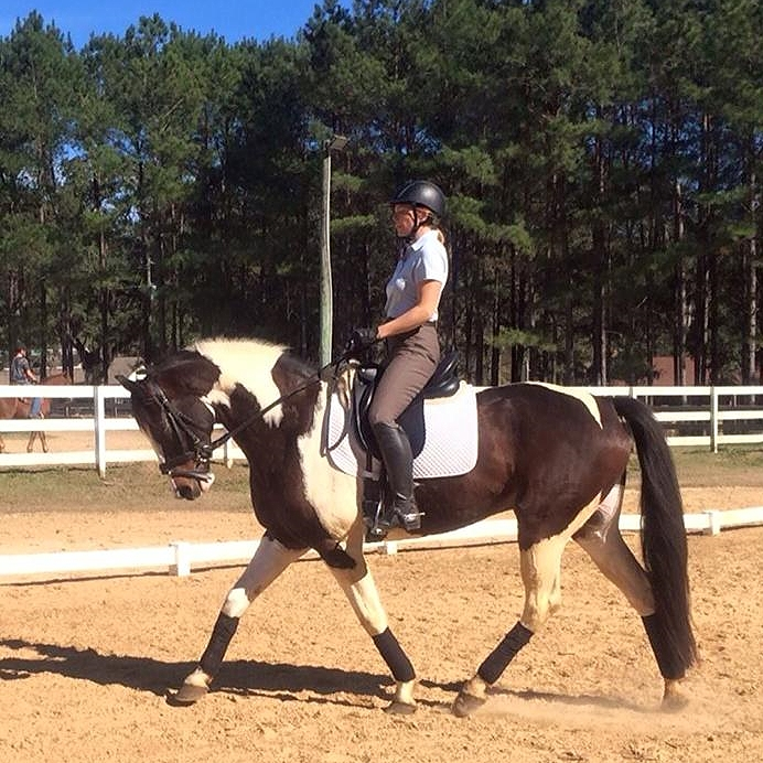 "Me with ""Teddy,"" one of the horses I have had in training."