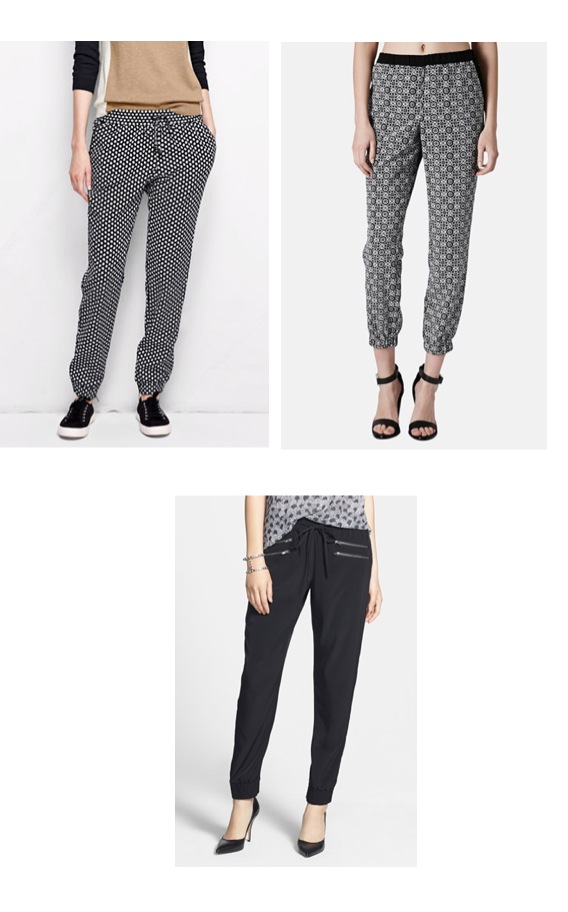 Top left Lands End woven pattern track pant. Top Right Topshop Track Pant.  Bottom Halogen zip detail pant.