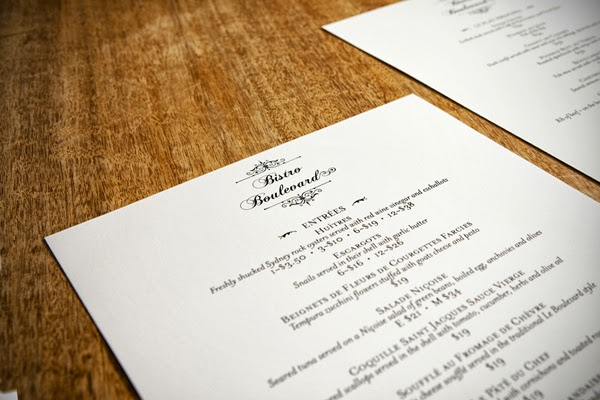 Bistro Boulevard menu by Marika Jarv