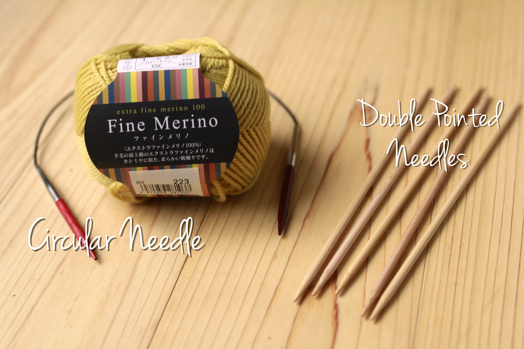 Two types of knitting needles other than straight needles