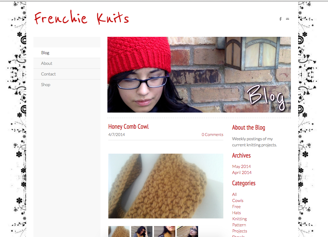 My first website: Frenchie Knits. Yikes.