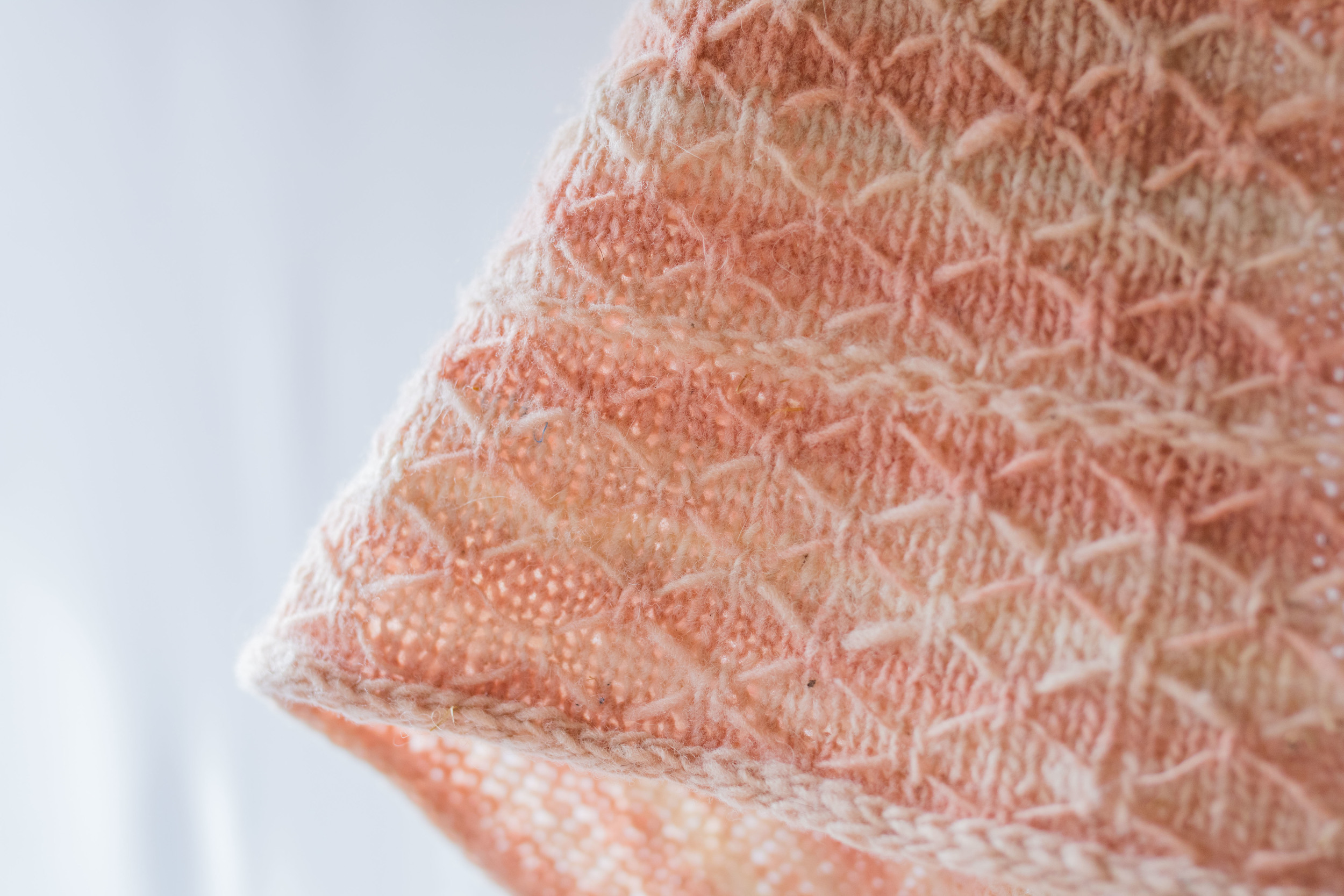 Shawl in Coral and Beige Variegated Yarn