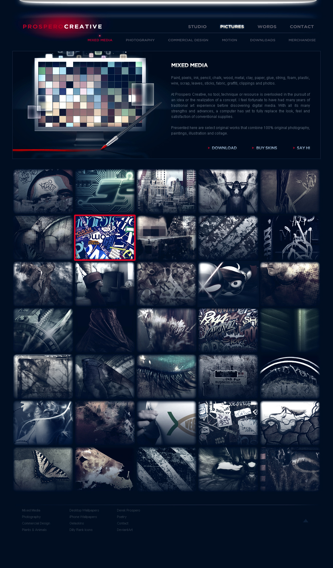 NOCTURNAL - The visual goal was to create a night time aesthetic, reflected in the dark navy overtone. The muted palette was completely absent of true black, eliciting a soft, hazy feel. These satin hues provided strong contrast against the bright neon hover states of links and images.