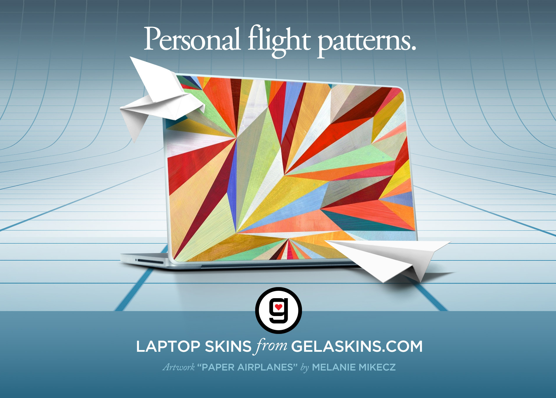Ad campaign - My relationship with GelaSkins began as an artist contributor, a partnership that expanded to include some creative advertising and consulting. The result was a series of laptop skin ads that combined product shots with design and copywriting.