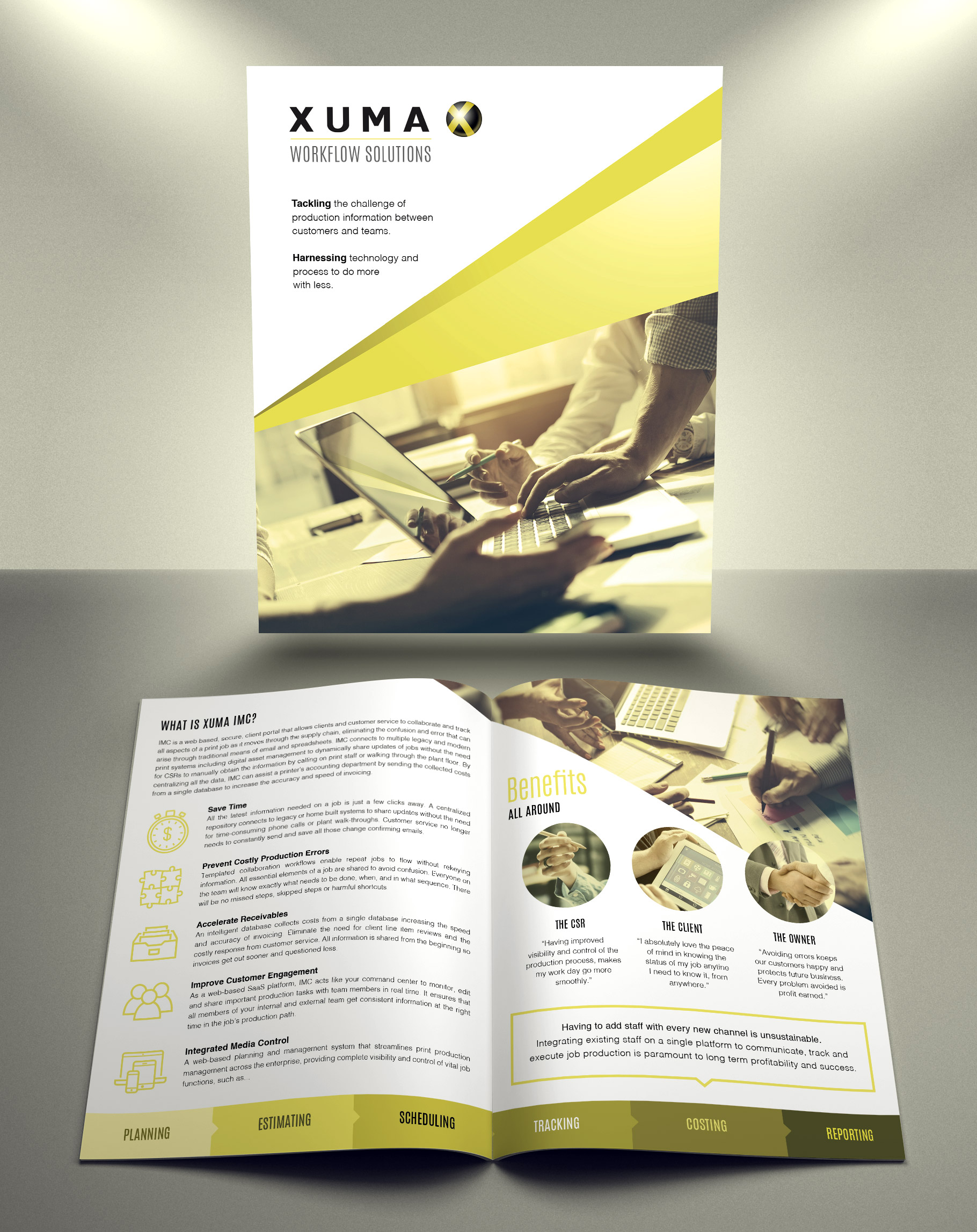 Brochure - The printed version was designed for sales associates to leave with prospective clients, which directed to the online mini-site for engagement and sales conversion.