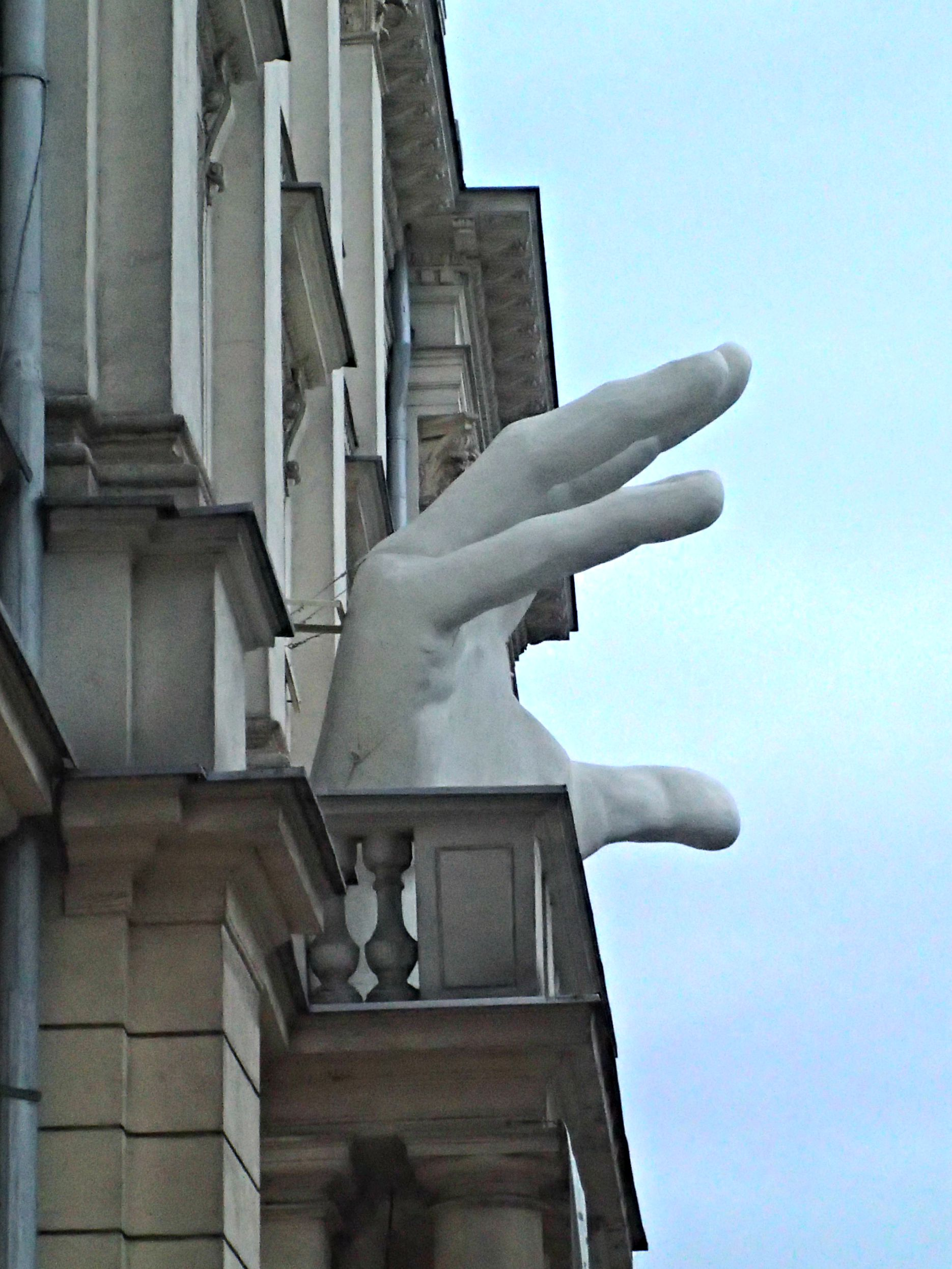 Giant mysterious hand on the balcony of the Collegium Nobilium  Founded in 1740, the Collegium Nobilium was originally an elite boarding school run by Piarist monks and one of the predecessors of Warsaw University. It was almost completely destroyed during the Warsaw Uprising. Rebuilt after the war, it is now a theater.