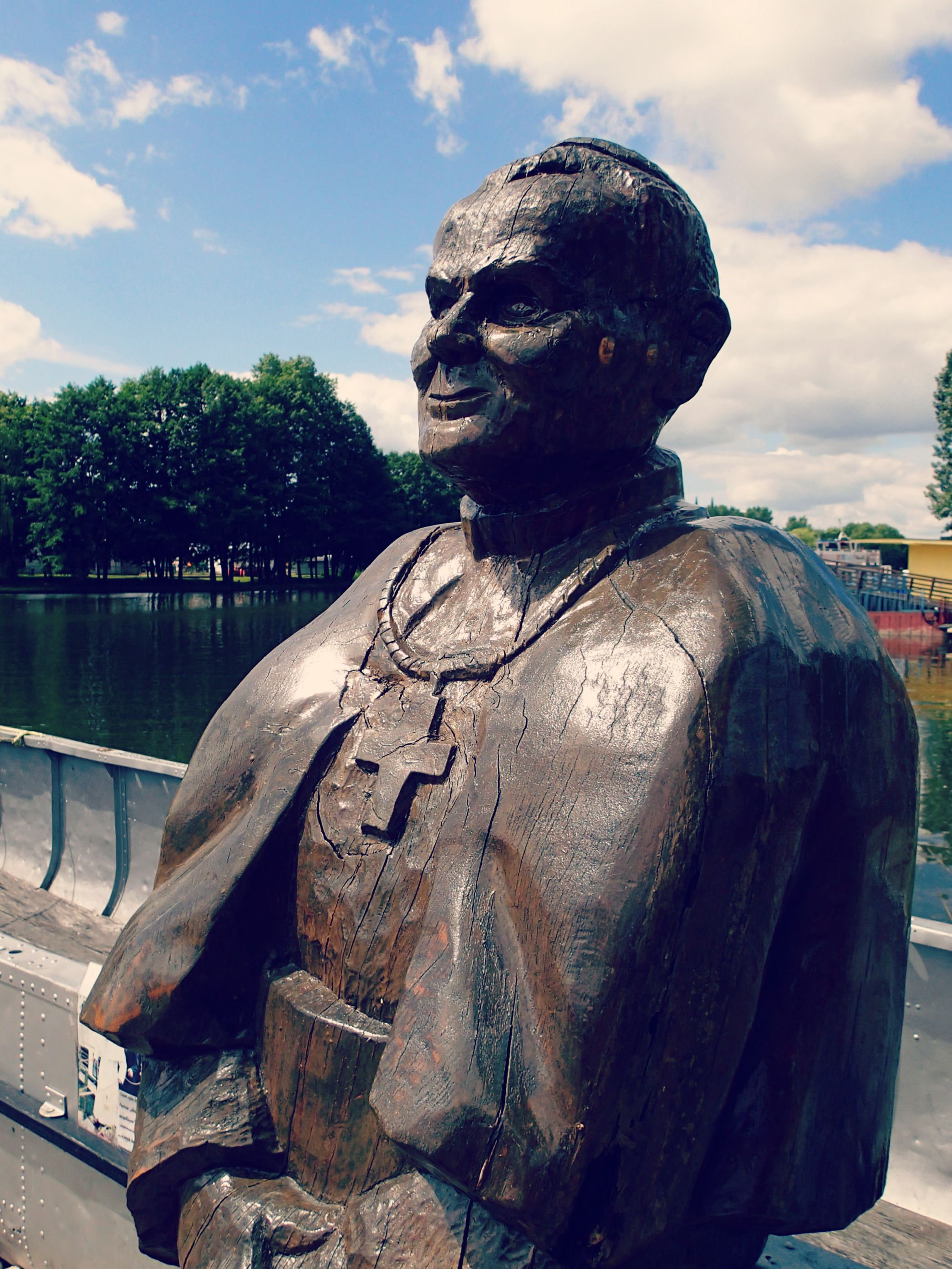 A statue erected of Pope John Paul II. A Polish native, his visit was hugely important to the Polish people and was a historical event as he was the first Roman Catholic pontiff to visit a (then) Communist-ruled country.  The boat touring company was quite proud to tell us that the Pope had taken one of their boats on a tour as well.