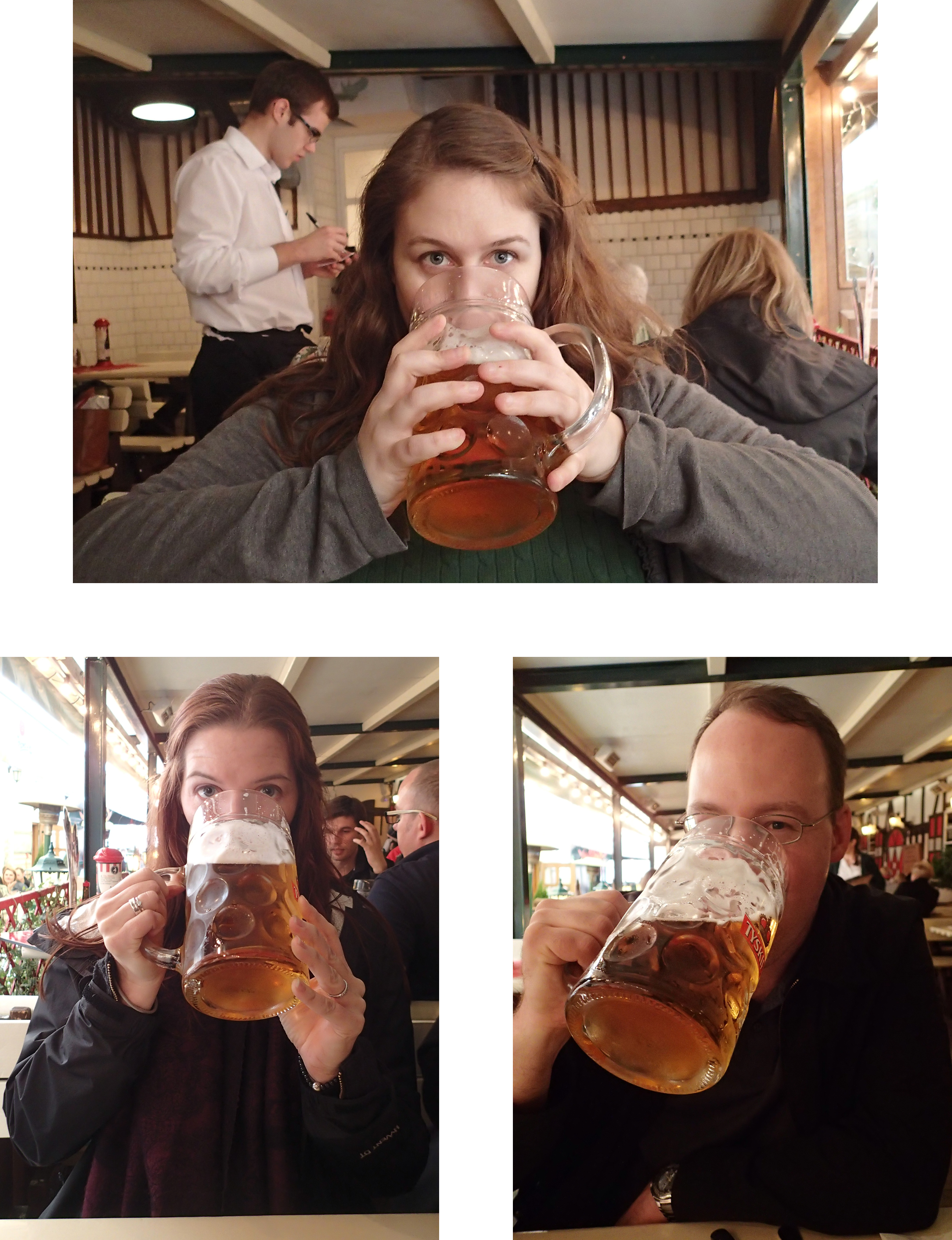 From the top, that's me, my sister-in-law, Karyn and my brother drinking a LITER of Tyskie Książęce Zlote Pszeniczne in the biggest beer mugs we had ever seen. The mugs were so large that Karyn and I needed to hold them with two hands.  (A delicious hefeweizen, but that's a little more than a freakin' quart of beer each!)