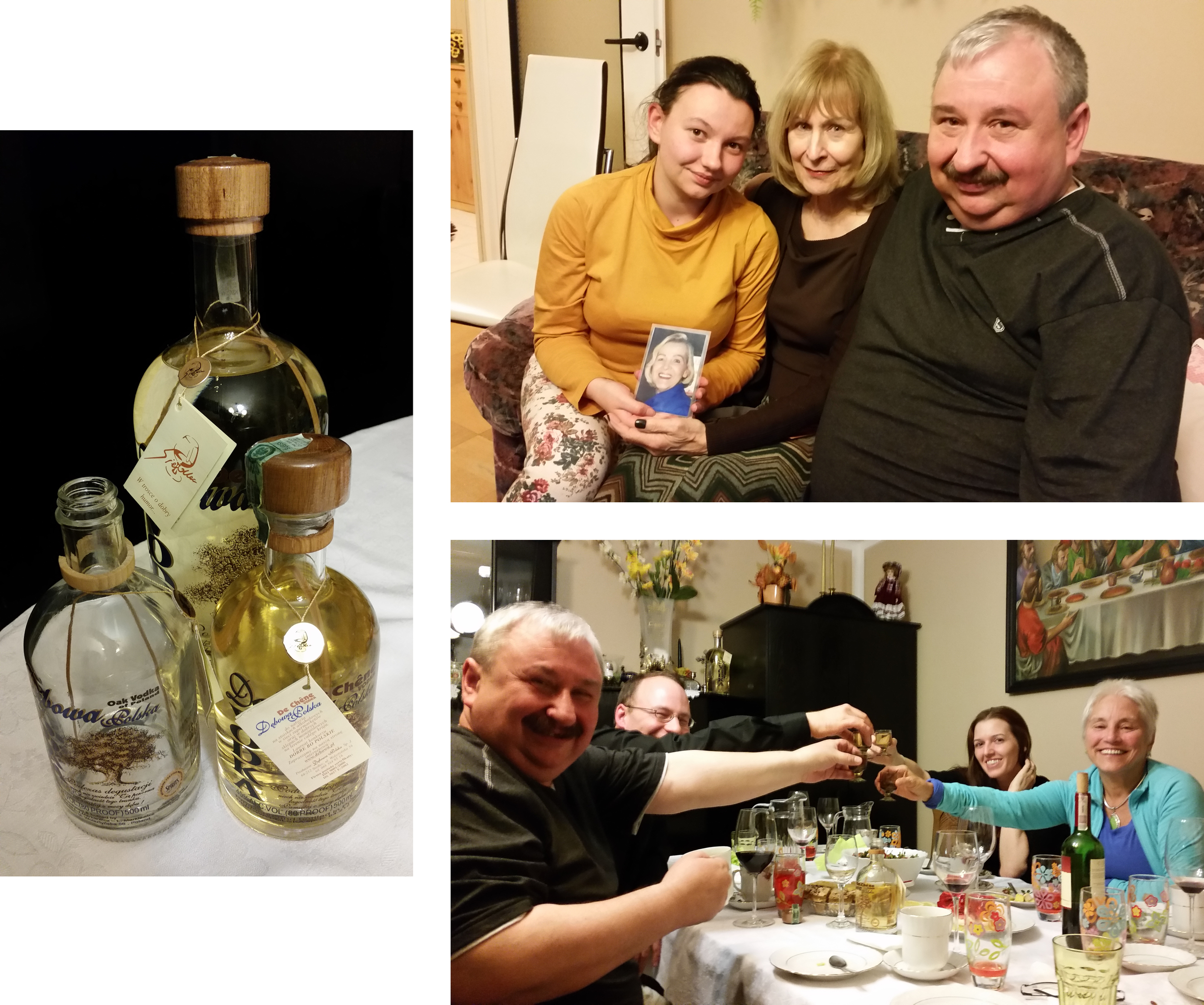 These 3 pictures neatly sum up our visit with the descendants of my great grandmother's sister  1. Drinking Debowa Vodka, a rye vodka aged in an oak barrel--you can see a little sliver of the oak in each bottle.  2. Sharing family photos--that's my mom and Agata cradling a picture of my Grandmother in their joined hands.  3. Eating wonderful food prepared by Alina, Agata's mother and then toasting to her and our families with more Debowa Vodka. (Bottom pic from left to right: Grzegorz-Agata's father; my brother, Doug; Karyn, my sister-in-law and Patty, my second cousin.)