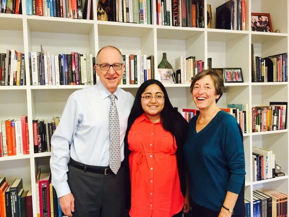 Nancy Bell, poses with previous President, David Skorton (left), and current Vice President, Susan Murphy (right), at 300 Day Hall on April 8th, 2015.