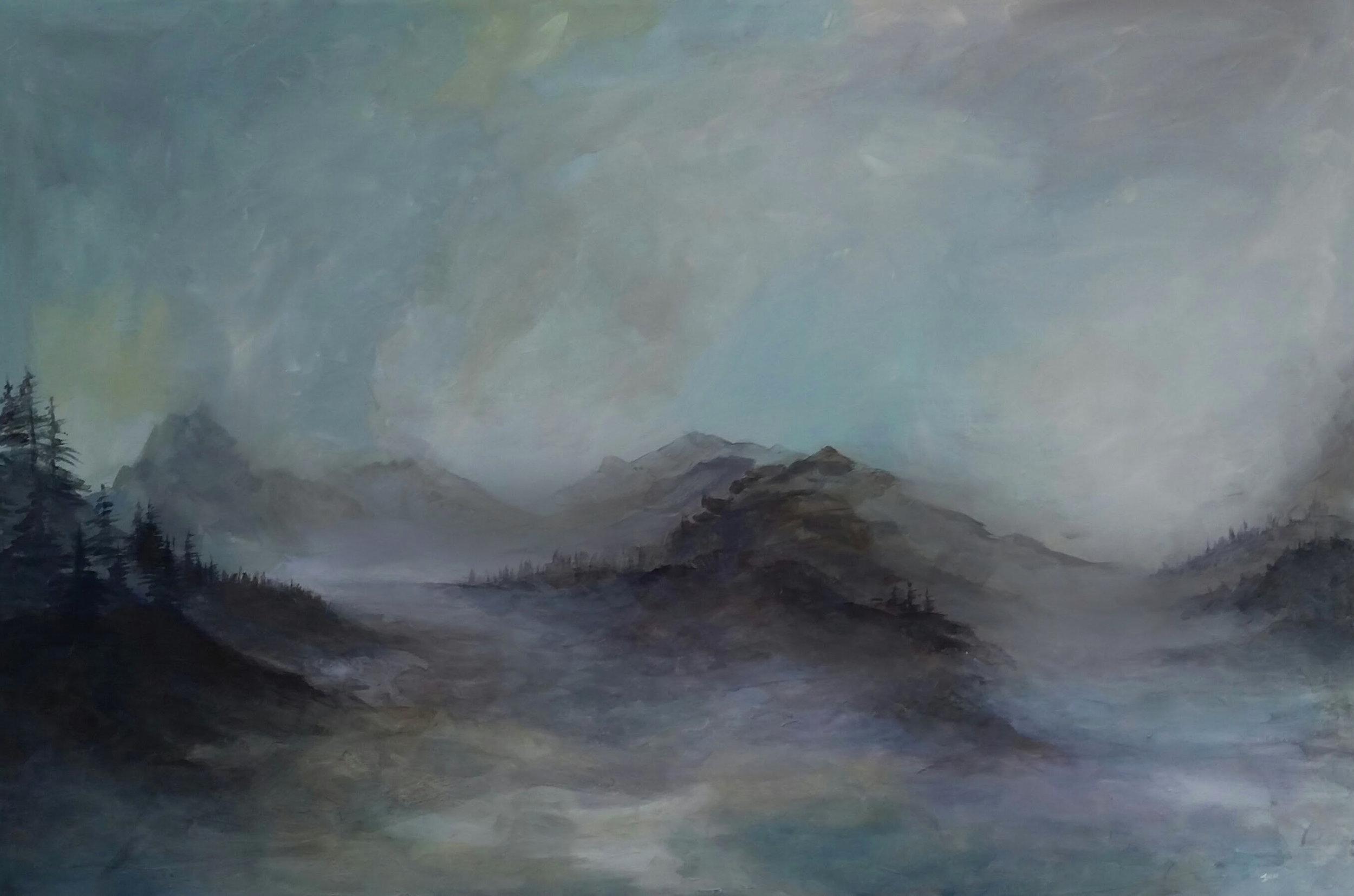"Lake Wakatipu | 2015 | SOLD  Acrylic on canvas, 24"" x 36"""