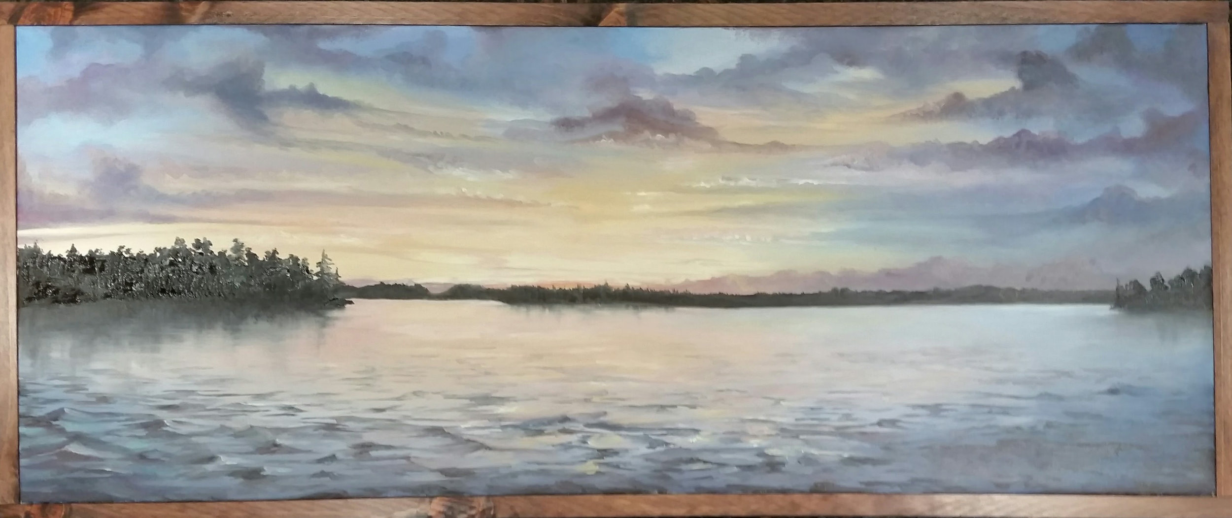 "Wellesley Island View | 2017 | COMMISSION/SOLD  Oil on canvas, 16"" x 40"""