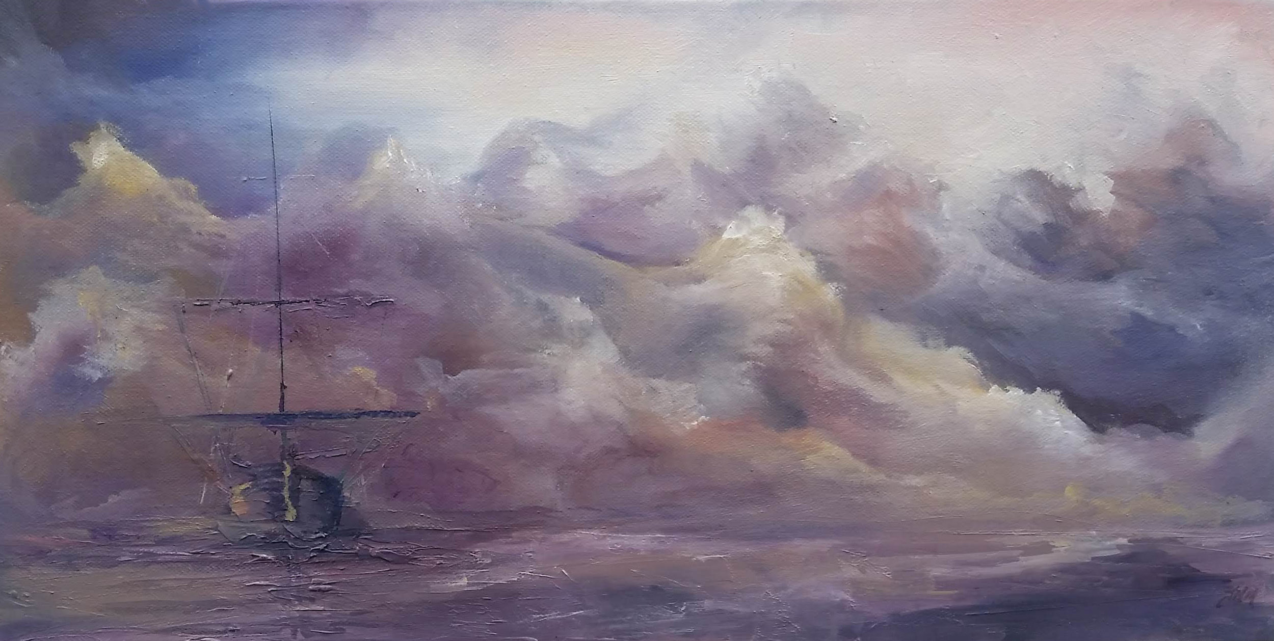 "Cape Barren Island | 2018 | SOLD  Oil on canvas, 15"" x 30"""