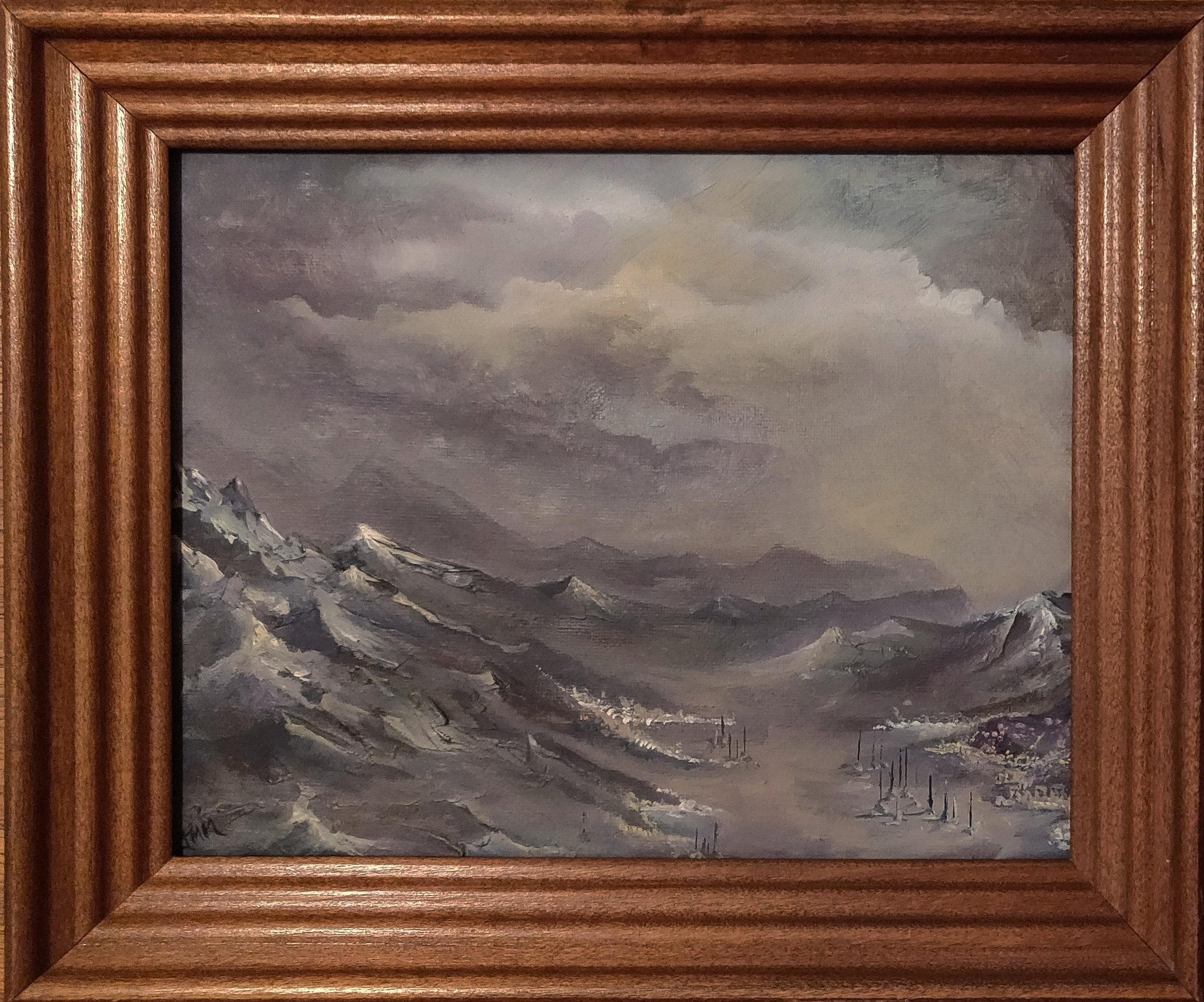 "Queenstown Lights | 2017 | $340  Oil on canvas, 10"" x 8"""