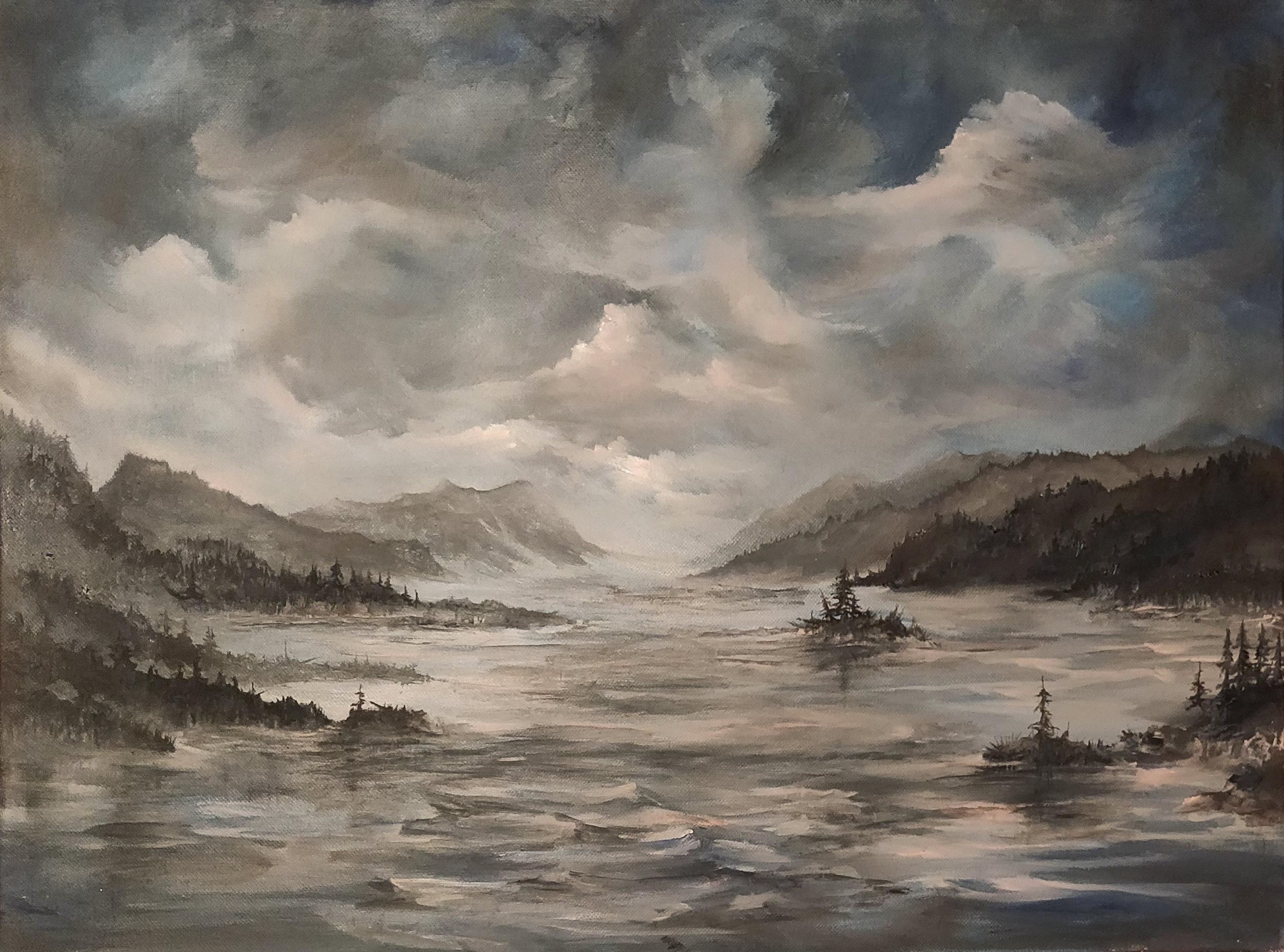 """Rivière Saguenay   2018   $540  Oil on canvas, 18"""" x 24"""""""