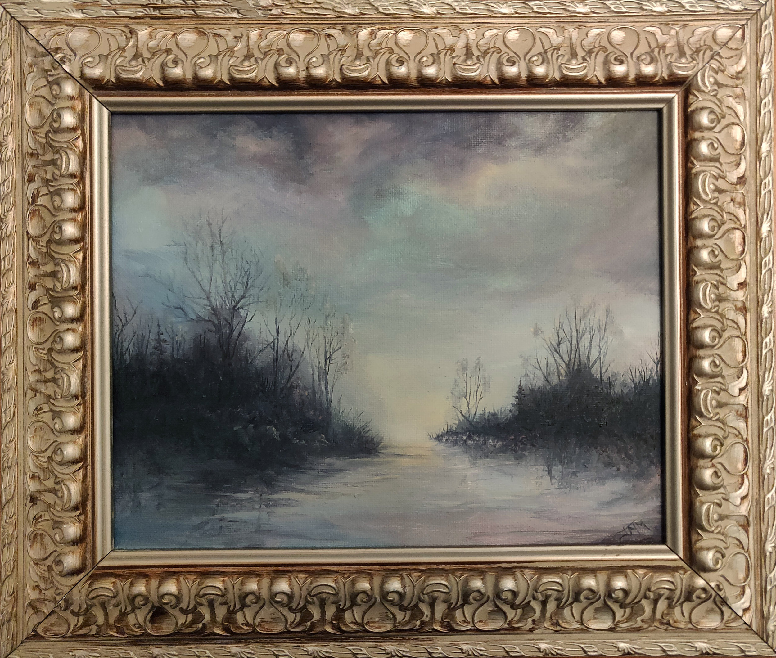 "Oswegatchi River Bog | 2018 | $340  Oil on canvas, 10"" x 8"" (12 x 10"" framed)"