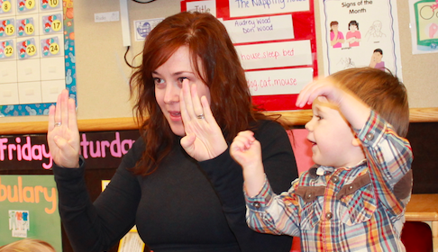 Reading stories to my son's class in Sign Language