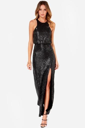 LuLu's Line and Dot Monroe Black Sequin Maxi Dress