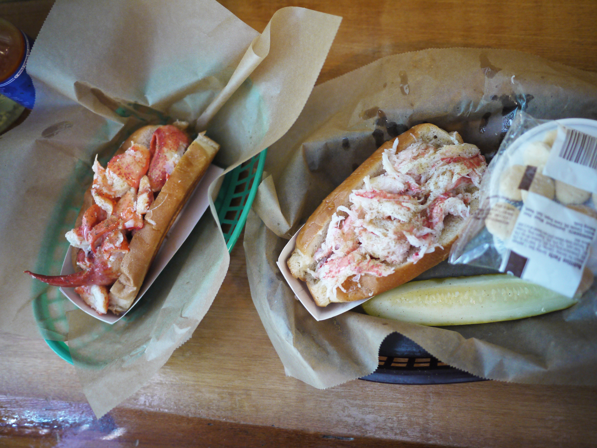 L: lobster roll, R: crab roll + new england clam chowdahhh combo