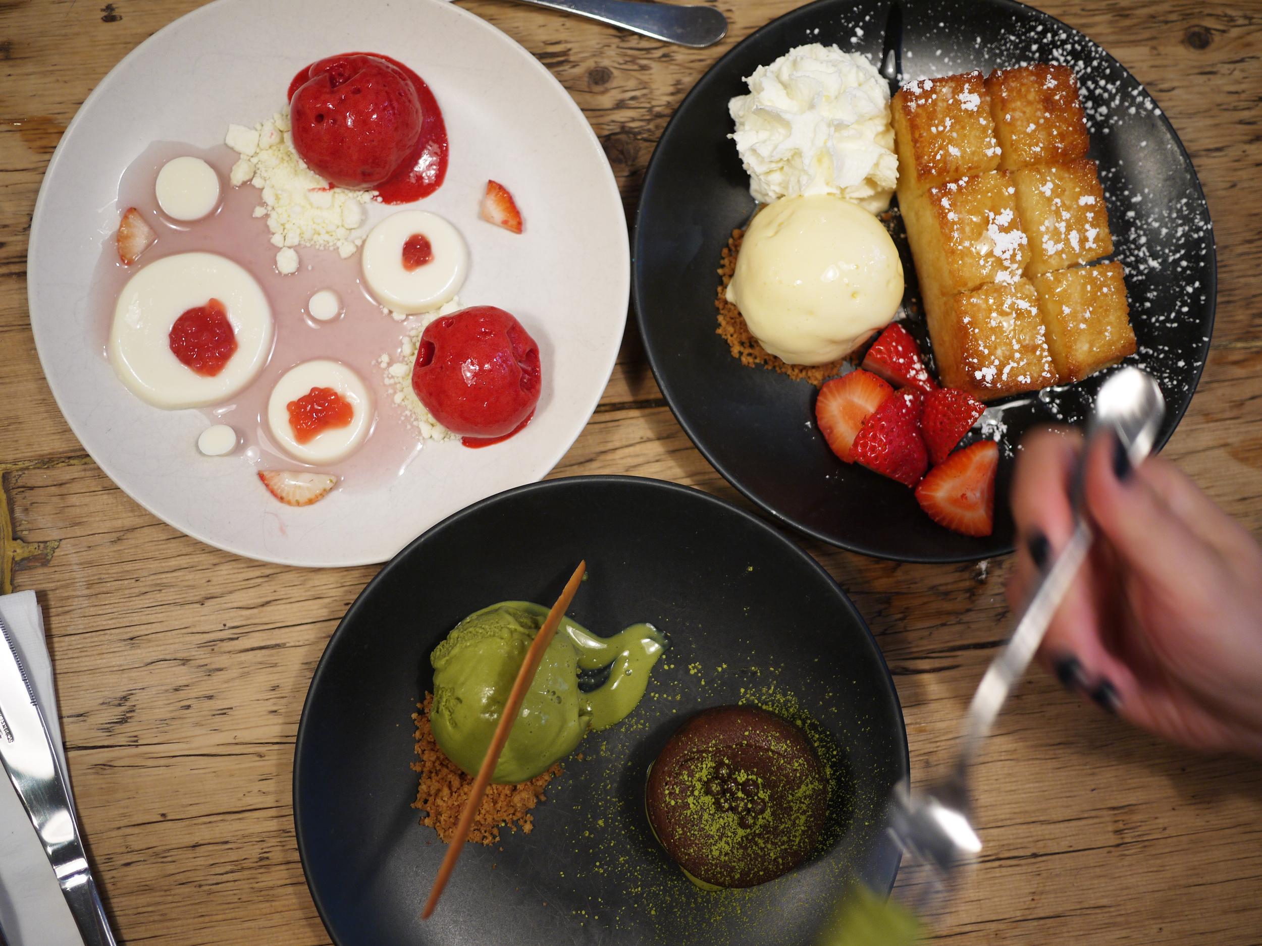 top L: lychee panna cotta, top R: golden toast, bottom: green tea lava cake